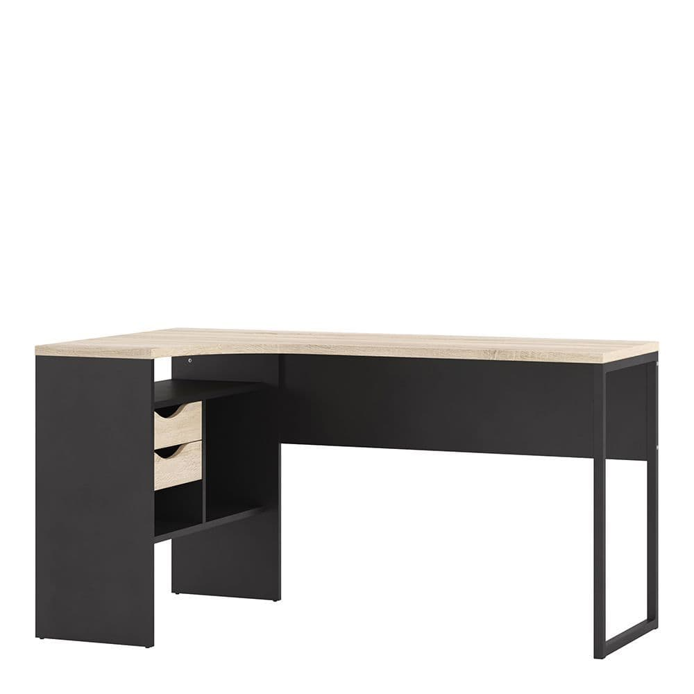 Business Plus Corner Desk 2 Drawers in Black Matt and Oak in Black Matt and Oak